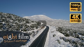 Aerial Stock Footage - Road with snow